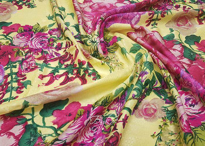 Шелк Батист Жаккард Цветы Италия фото