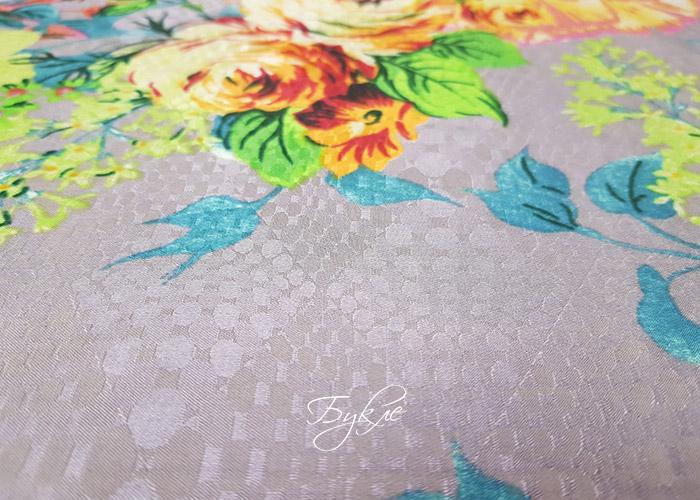 Шелк Батист Жаккард Цветы на Сером Италия фото
