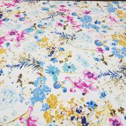 Шелк Креп Розово-Голубые Цветы фото