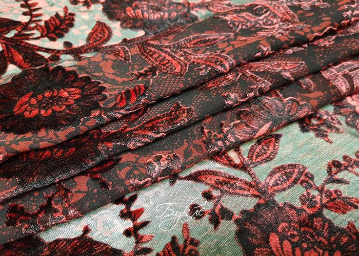 Шелк Панбархат Бордовые Цветы фото