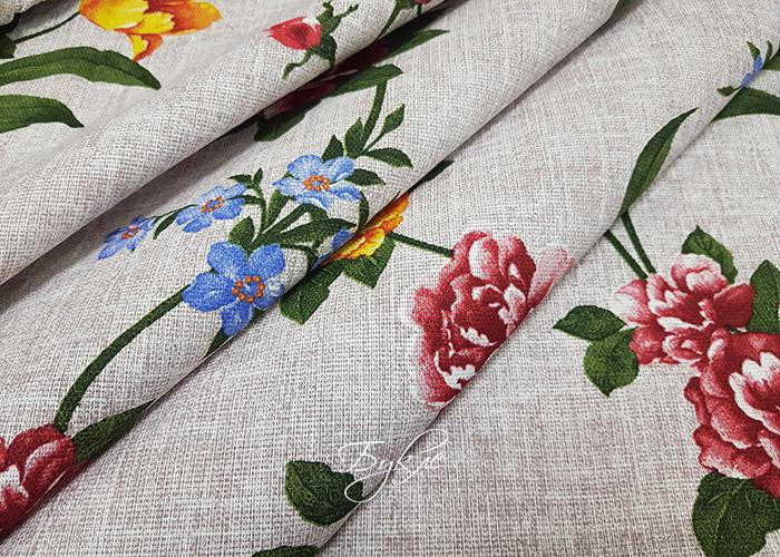 Хлопок Рогожка Цветы на Бежевом фото