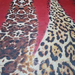 Шелк Шифон Леопард с Красным фото