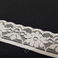 Кружево Стрейч Белое Цветы 30мм фото