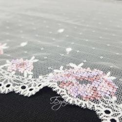 Кружево Белое Сетка с Сиреневым 180мм фото