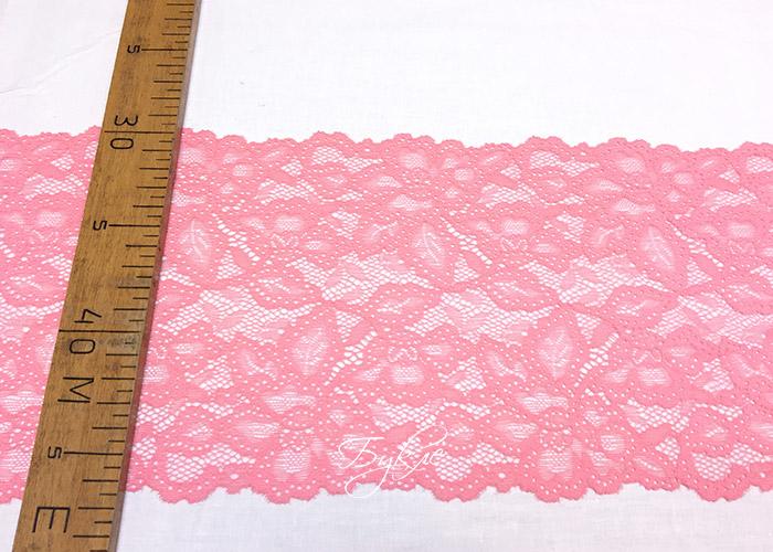 Кружево Стрейч Розовое Цветы 170мм