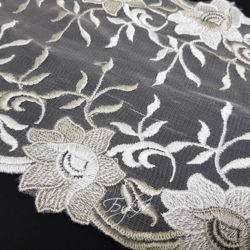 Кружево Сетка Белое Цветы 200мм