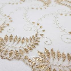 Кружево Сетка Белое с Золотом 180мм