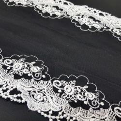 Кружево Сетка Черное с Вышивкой 180мм
