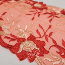 Кружево на Сетке Красно-Розовое 190мм
