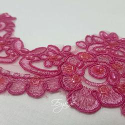 Кружево Розовое Пайетки 65мм