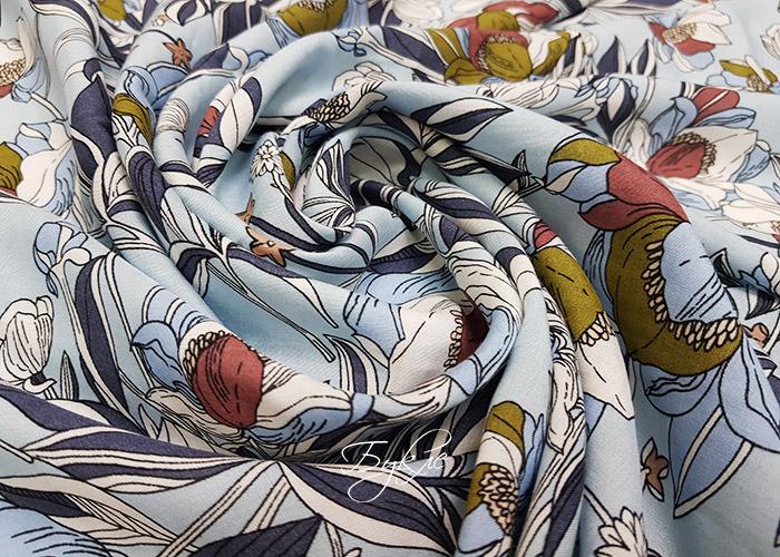 Вискоза Штапель Цветы на Голубом
