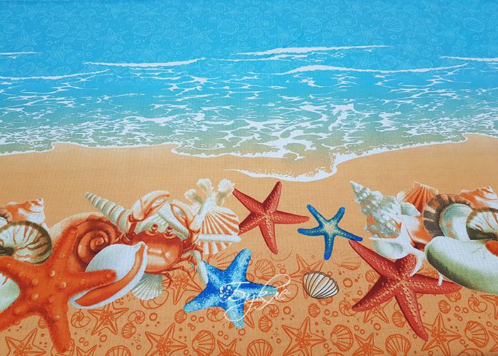 Вафельное Полотно Ракушки и Море