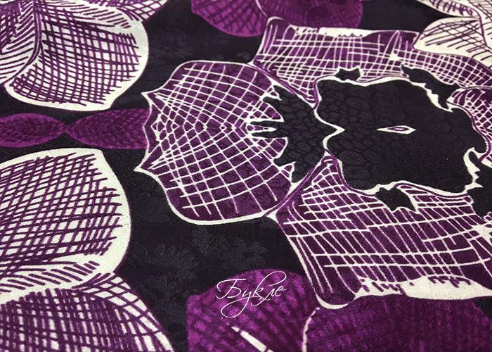 Шелк-Хлопок Батист Фиолетовый с Цветами