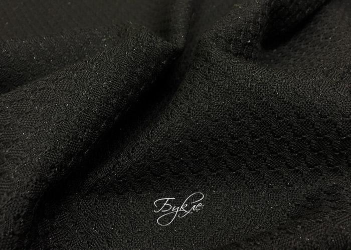 Ткань Костюмная Черная с Люрексом