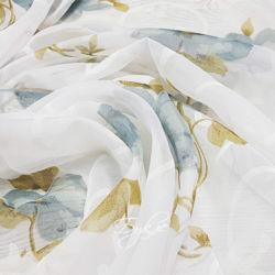 Тюль Вуаль Белая с Цветами