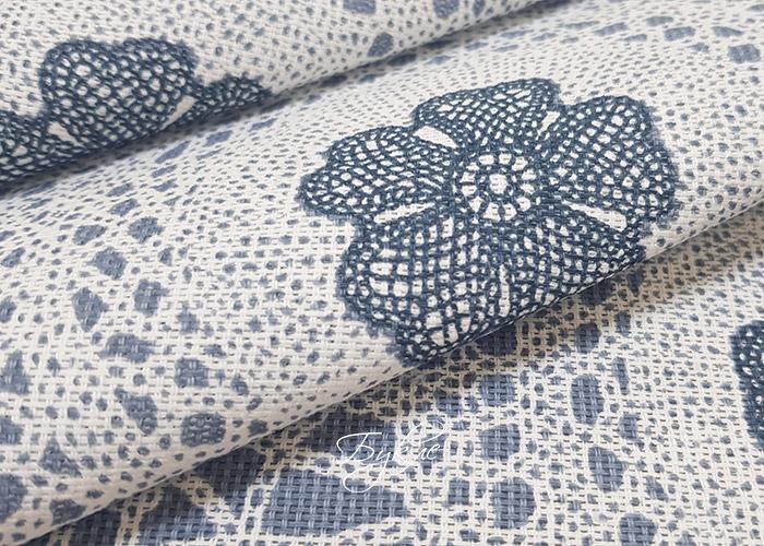 Рогожка Хлопок Серо-Голубые Цветы