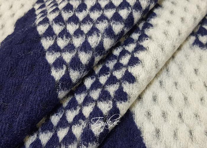 Шерсть Пальтовая Трикотаж Серо-Синяя