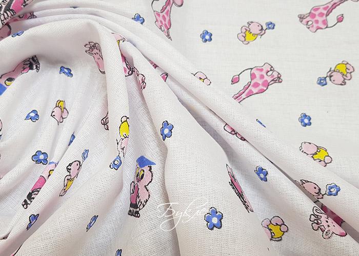 Ситец Хлопок Розовые Жирафы