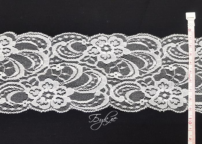 Кружево Белый Фатин Цветы 90мм