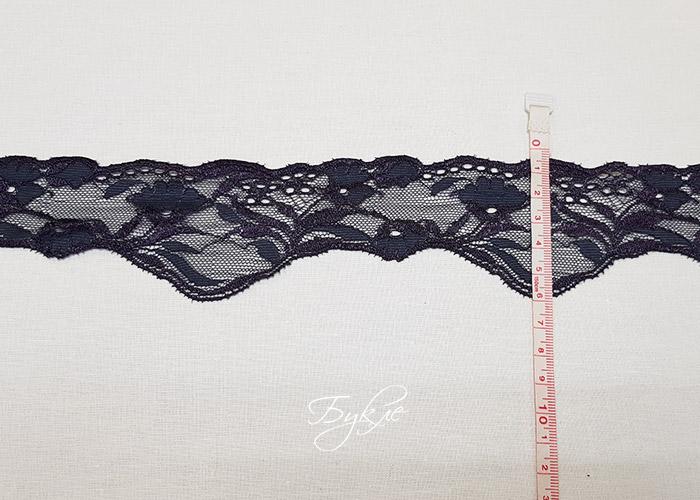 Кружево Стрейч Серо-Фиолетовое Цветочки 65мм