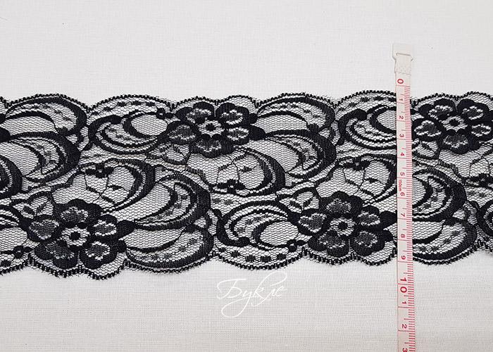 Кружево Черный Фатин Цветы 85мм
