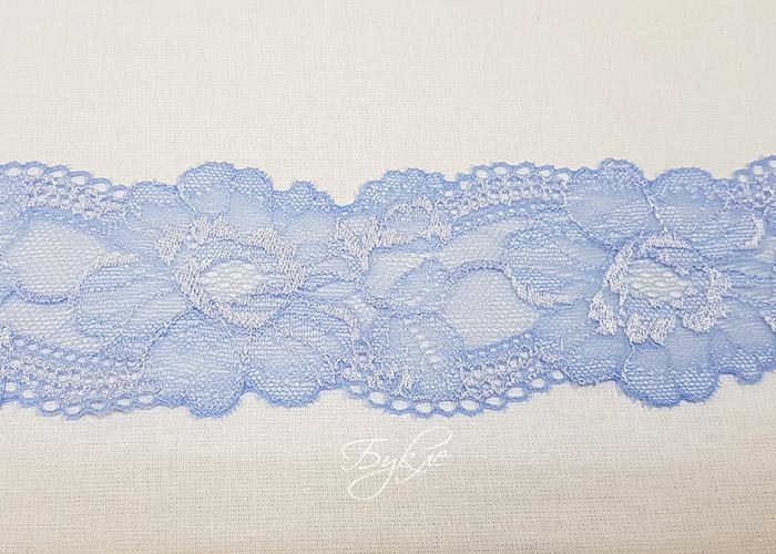 Кружево Стрейч Голубое Цветок 55мм
