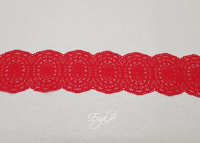 Кружево Стрейч Темно-Розовые Медальоны 56мм