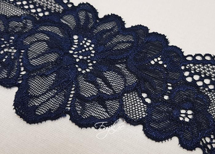 Кружево Стрейч Синее Цветок 80мм
