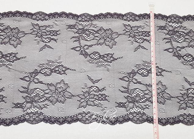 Кружево Стрейч Волна из Цветка Темно-Серое 200мм