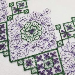 Кружево Стрейч Зелено-Фиолетовая Вышивка 180мм