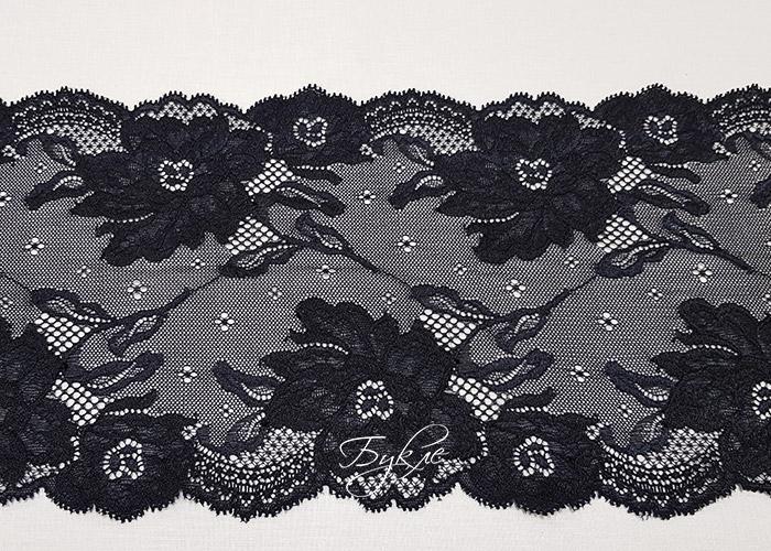 Кружево Стрейч Черное Крупный Цветок 165мм