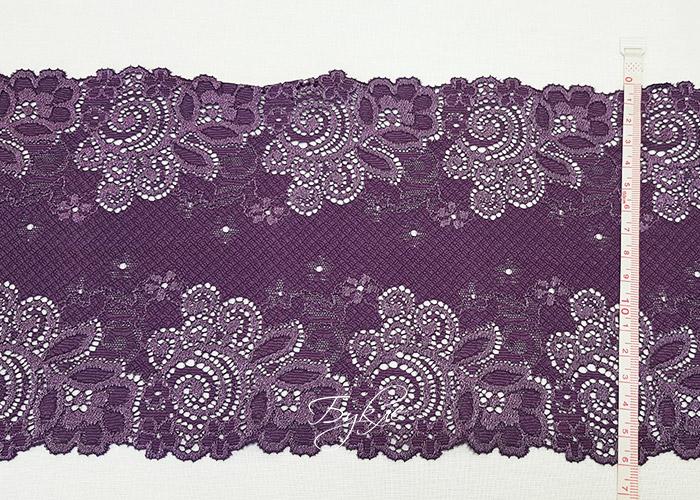 Кружево Стрейч Фиолетовое с Жаккардом 160мм