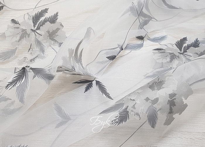 Тюль Органза Печать Серые Цветы
