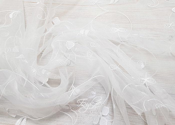 Тюль Органза с Вышивкой Белые Цветочки